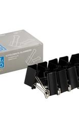 10 stuks Papierklemmen Foldback Zwart 32 mm breed, 14 mm hoog, no 1412