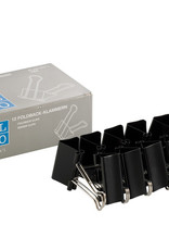 10 stuks Papierklemmen Foldback Zwart 41 mm breed, 19 mm hoog, no 1413