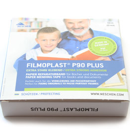 Zuurvrij plakband 20mmx50m Neschen P90 Plus Filmoplast Archiefkwaliteit. Licht doorschijnend wit papier.