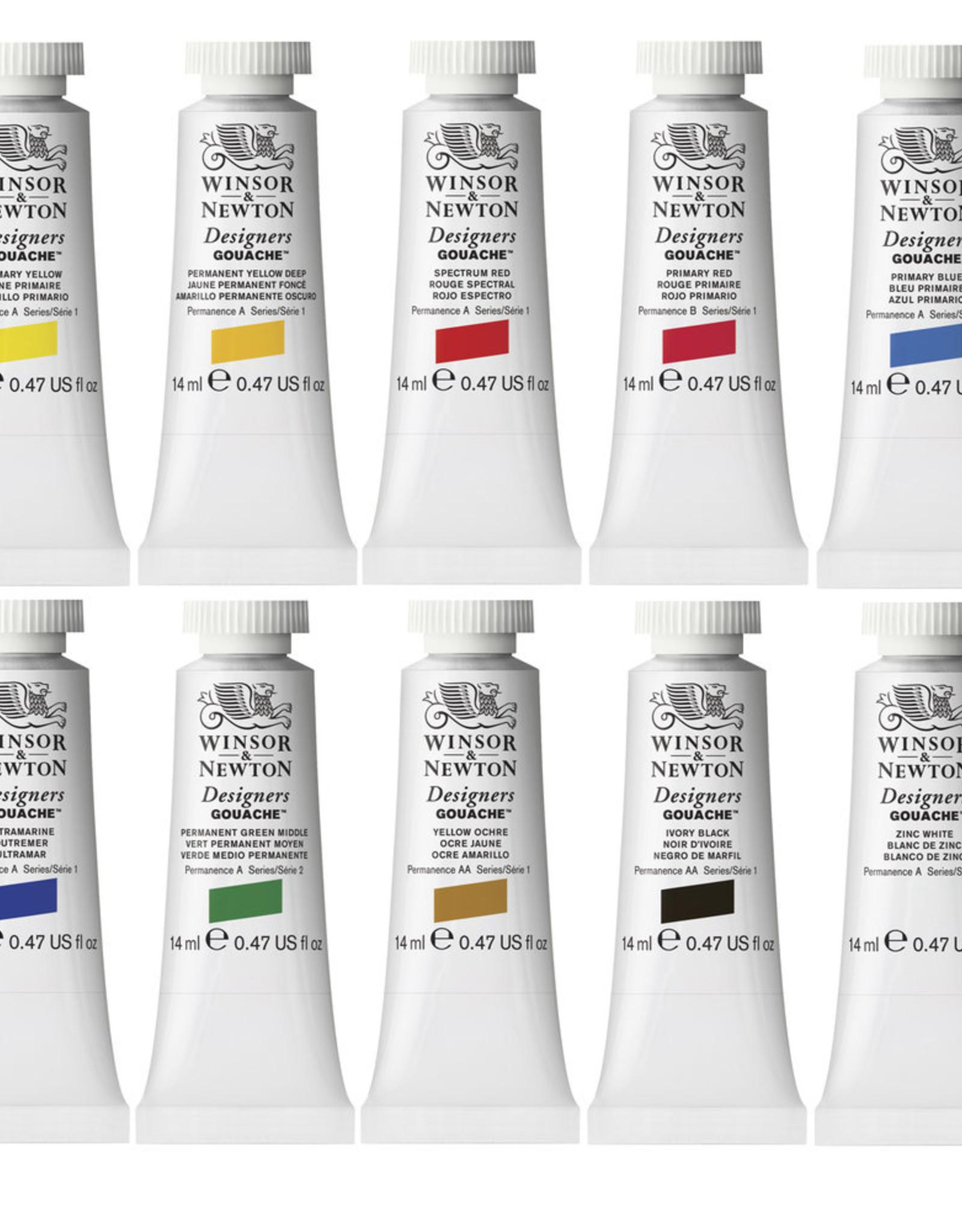 WInsor & Newton Gouache set Introductie kleuren Designer W&N 14ml 10 stuks 14 ml