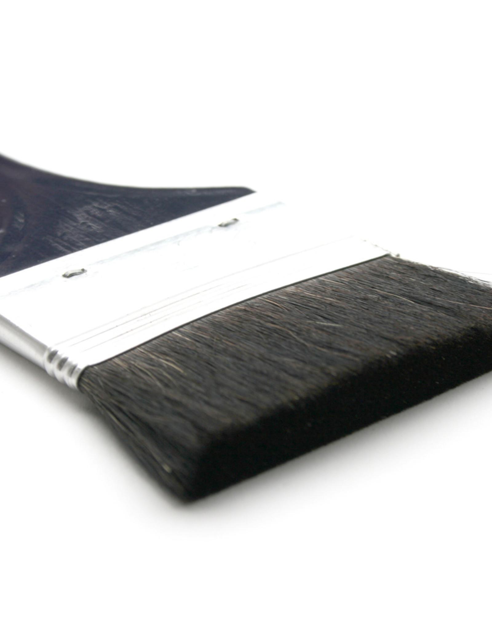 """Bieringer Ocean Kwast Zwart Geitenhaar Spalter Drie inch Breed, Dubbel Dik gezet serie 633 no 3""""Blauw Gelakte Steel"""