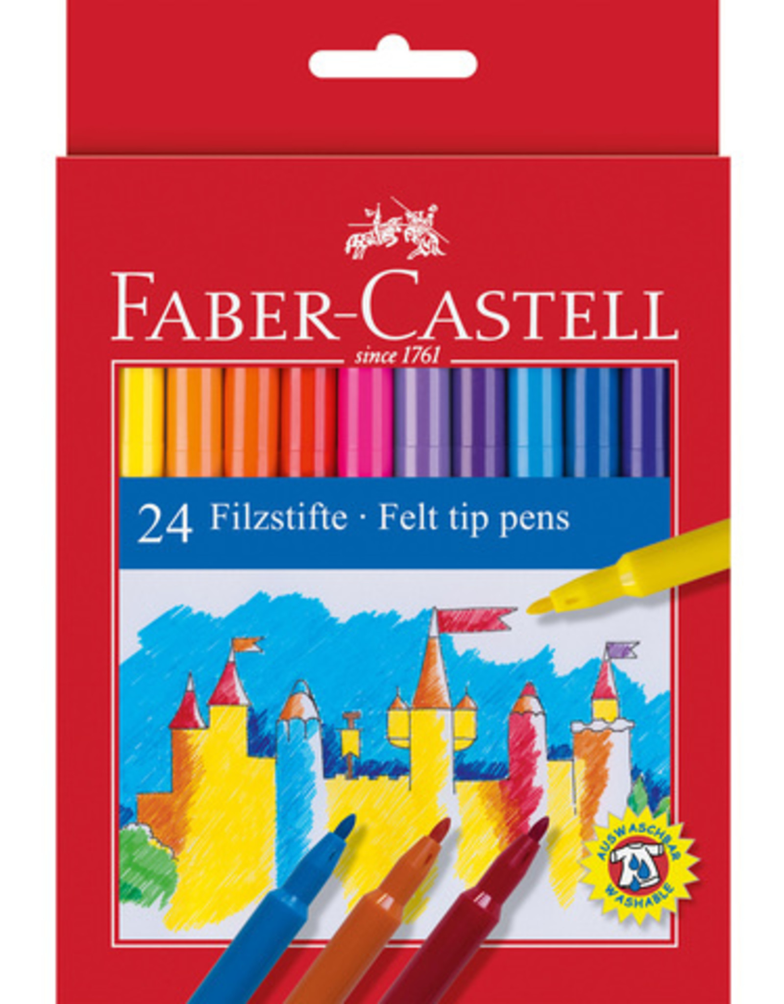 Actief-pakket tekenstiften 24 stuks Faber-Castell in Kartonnen etui