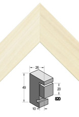 Barth 2x Wissellijst Verdiept 70x70cm Populier Ongelakt Barth profiel 26x49mm(820) sponning 20mm