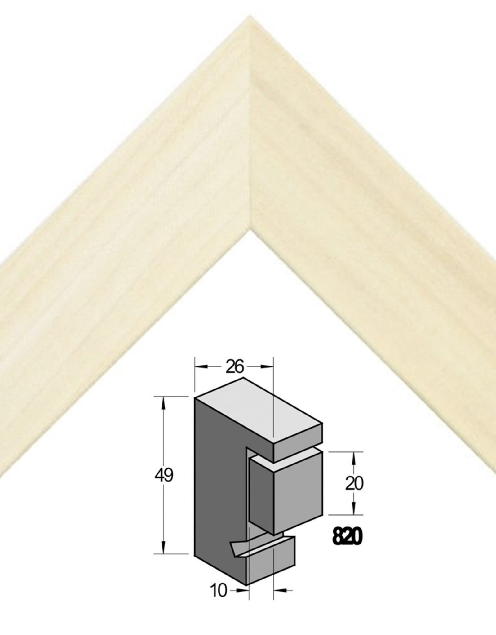 2x Wissellijst Verdiept 60x80cm Populier Ongelakt Barth profiel 26x49mm(220) sponning 20mm