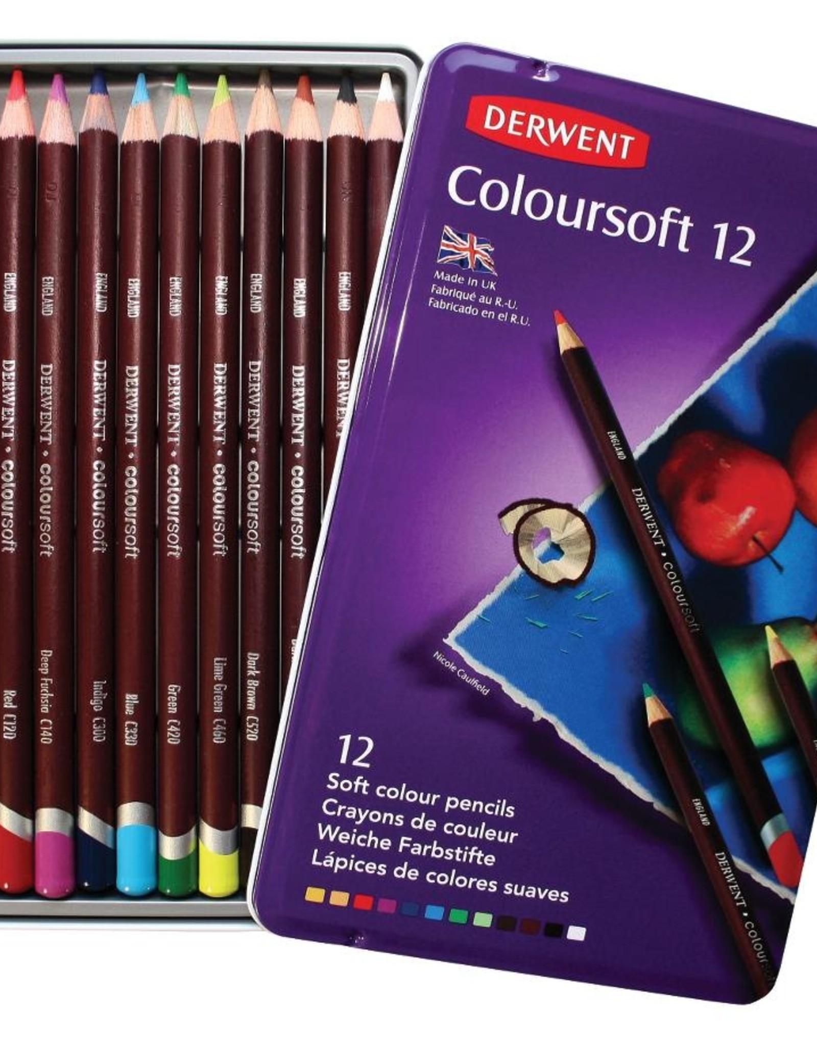 Derwent Basis-pakket kleurpotloden Derwent Coloursoft 12 stuks in metalen doos