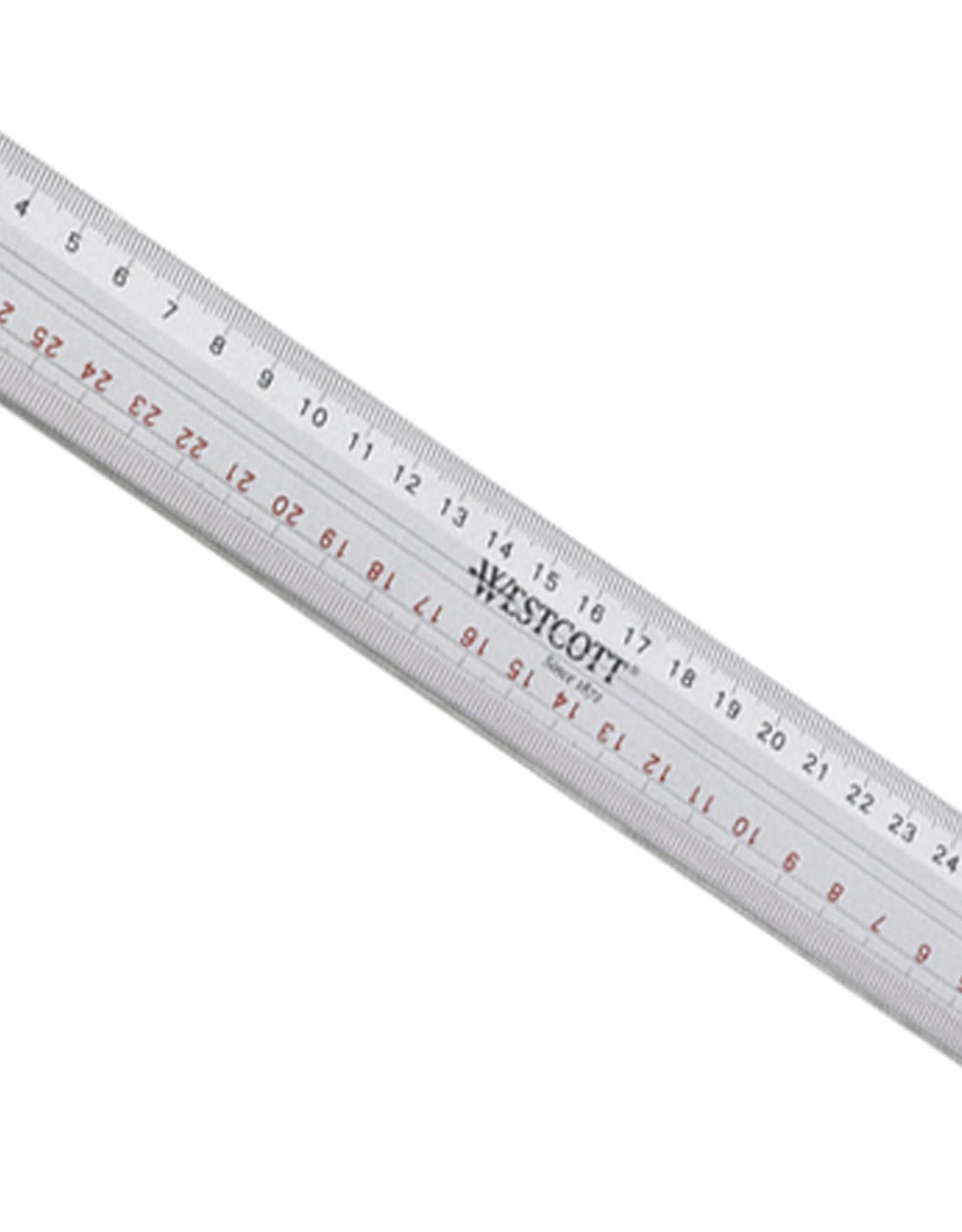 westcott Liniaal Aluminium Westcott met Anti Slip Rubberlaag 30 cm