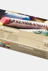 Talens Basis-set Pastelkrijt/ Softpastels, Talens Rembrandt 15 hele pastels Assorti in zwartkartonnen doos