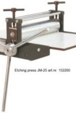 Poly Etspers atelier JM-25 drukformaat 25x45cm 40mm onderwals 55mm bovenwals, 8mm trespa bovenplaat, max doorlaat 2,5 cm dik