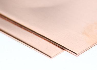 Koperplaten 0,8 mm (zonder folie)