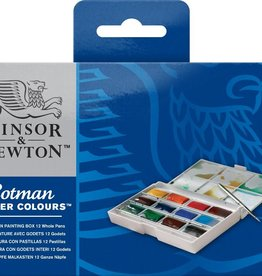 WInsor & Newton set Aquarelverf Whole Pan Painting Box, 12 hele napjes met omkeerbaar penseel in kunststof doos