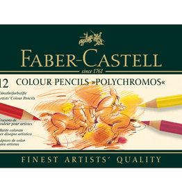 Faber-Castell Basis-pakket kleurpotloden Polychromos 12 stuks Faber-Castell in metalen doos