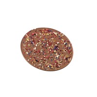 Schokoladen-Rondelle mit Blüten- und Früchtemix