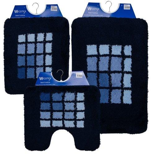 Badmat 60-16  blauw geblokt 60x90cm