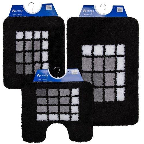 Badmat 60-17 zwart geblokt 60x90cm