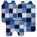 Bath mat 60-33 blue white checkered 60x90cm