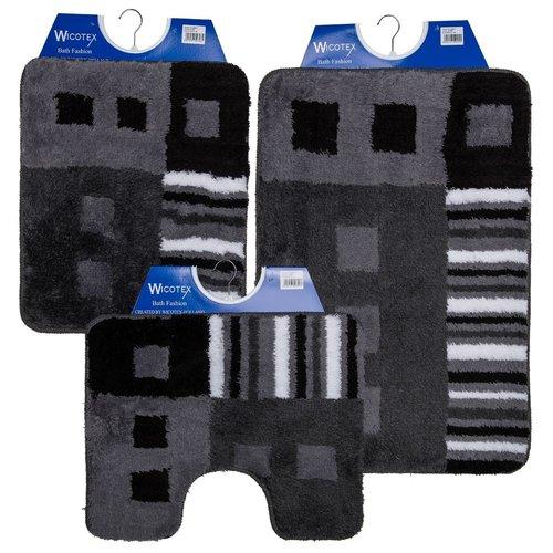 Badmat 60-32 zwart-antraciet-wit 60x90cm