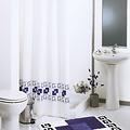 Duschvorhang Textil Quadrat blau