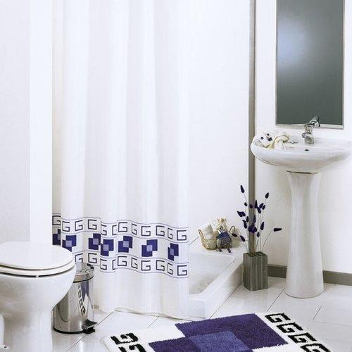 Shower curtain textile Square blue