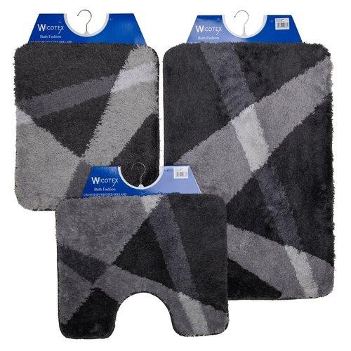 Bathmat gray striped 60x90cm