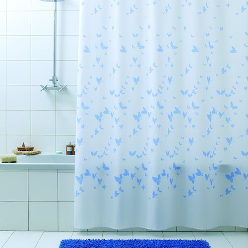 Shower curtain textile Farfalla blue
