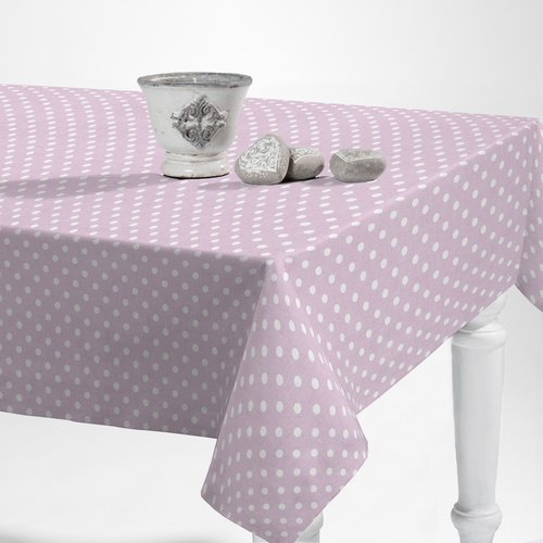 Coated Table textile Dots pink