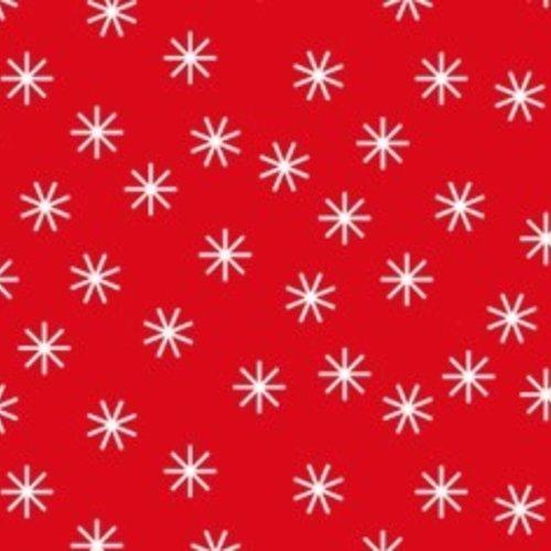 Damastpapier op rol 118 cm x 10 m Kerst ster rood/wit 25 stuks