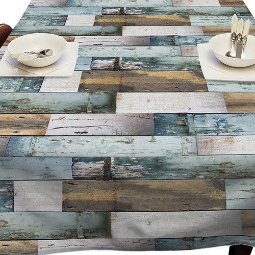 PVC oilcloth Woody blue