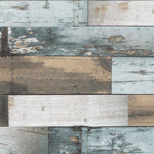 PVC Wachstuch Holzblau