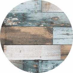 Rond PVC Tafelkleed Woody blauw - 160 cm