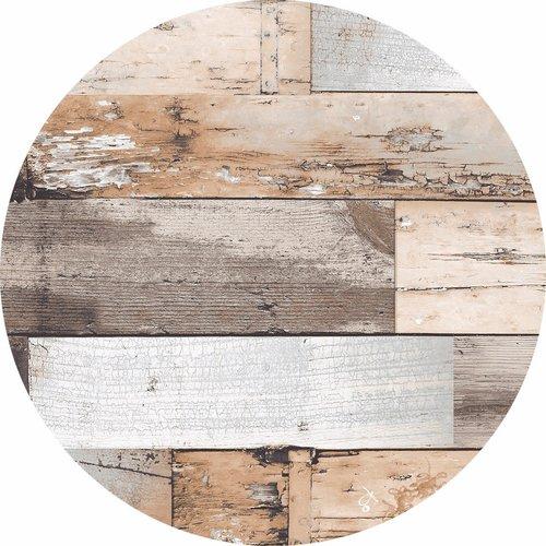 Tafelzeil rondWoody bruin - 160 cm