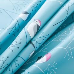 Tafelzeil polyester Vogel - blauw