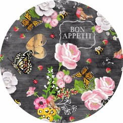 Rond PVC tafelkleed Bon Appetit - 160cm