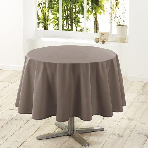 Tafelkleed textiel Essentiel taupe rond 180 cm