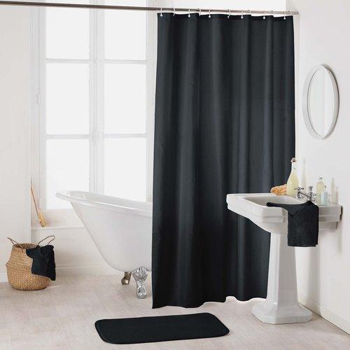 Shower curtain textile uni black