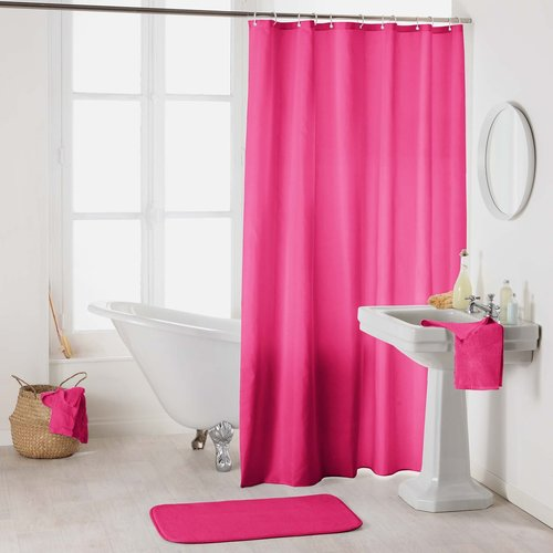 Shower curtain textile uni fuschia
