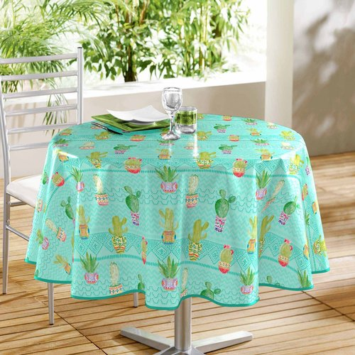 PVC tablecloth Melocactus blue around 160 cm