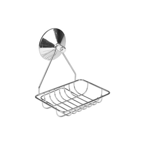 Soap dish metal with 1 chrome suction cup