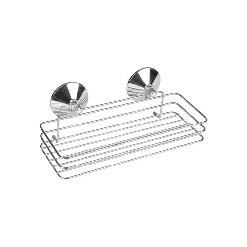 Soap dish metal with 2 chrome suction cups.