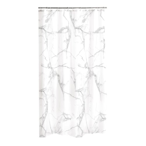 Shower curtain textile Marble white.