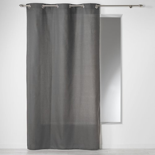 Ready made curtain with rings 140x240cm Panama 100% cotton color slate gray.