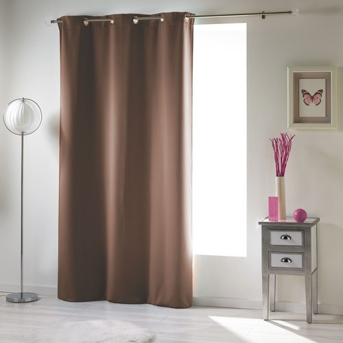Spitze und klarer Vorhang mit Ringen, die 140x240cm Uni Polyester Haselnussbraun verdecken