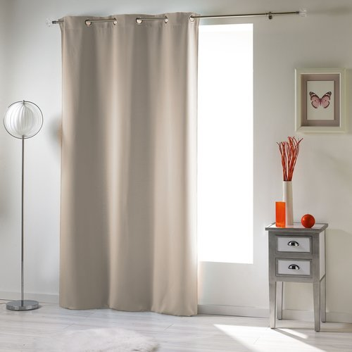 Spitze und klarer Vorhang mit Ringen, die 140 x 240 cm Uni-Polyester-Elfenbein verdecken