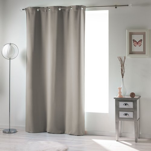 Ready made curtain with rings obscuring 140x240cm uni polyester pearl