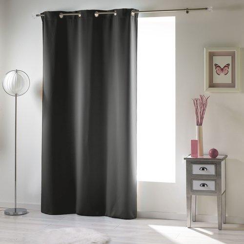 Spitze und klarer Vorhang mit Ringen, die 135x 240 cm Uni-Polyester-Anthrazit verdecken