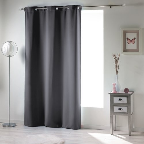 Ready made curtain with rings obscuring 135x240cm uni polyester slate gray