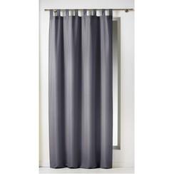 Kant en klaargordijn met ophanglus 140x260cm uni polyester donker grijs
