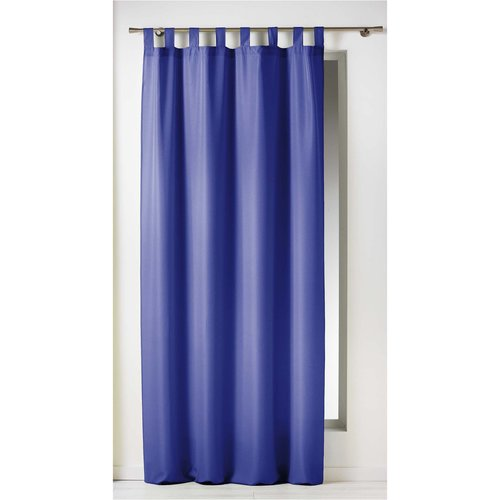 Ready made curtain with hanging loop 140x260cm uni polyester blue