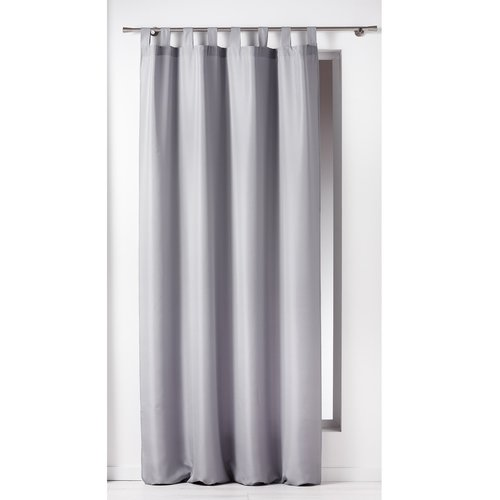 Ready made curtain with hanging loop 140x260cm uni polyester light gray