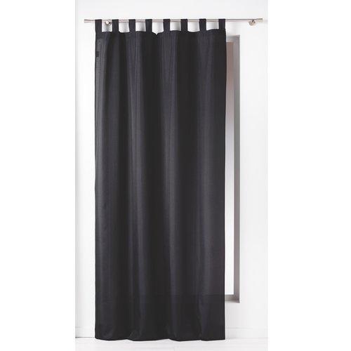Gordijnen-Kant en klaar- met ophanglus 140x260cm uni polyester zwart