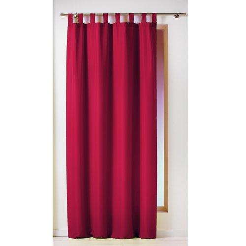 Gordijnen-Kant en klaar- met ophanglus 140x260cm uni polyester rood